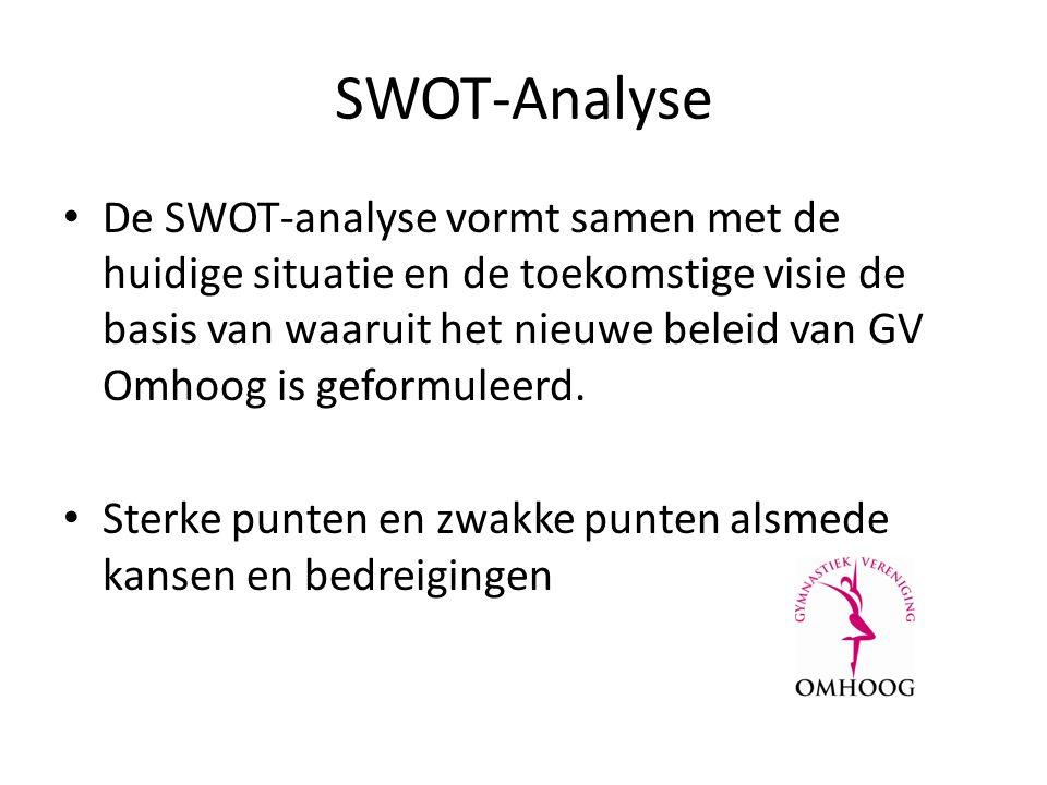 SWOT-Analyse De SWOT-analyse vormt samen met de huidige situatie en de toekomstige visie de basis van waaruit het nieuwe beleid van GV Omhoog is geformuleerd.