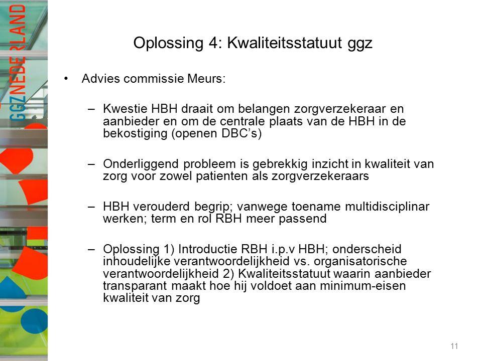 Oplossing 4: Kwaliteitsstatuut ggz Advies commissie Meurs: –Kwestie HBH draait om belangen zorgverzekeraar en aanbieder en om de centrale plaats van d
