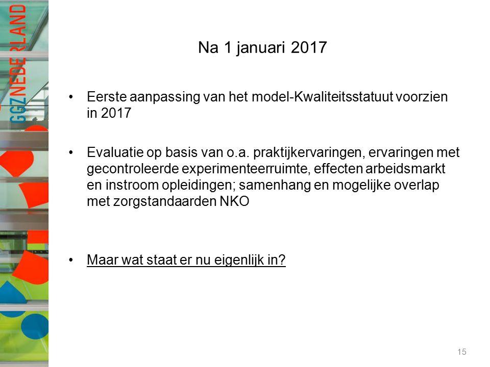 Na 1 januari 2017 Eerste aanpassing van het model-Kwaliteitsstatuut voorzien in 2017 Evaluatie op basis van o.a. praktijkervaringen, ervaringen met ge
