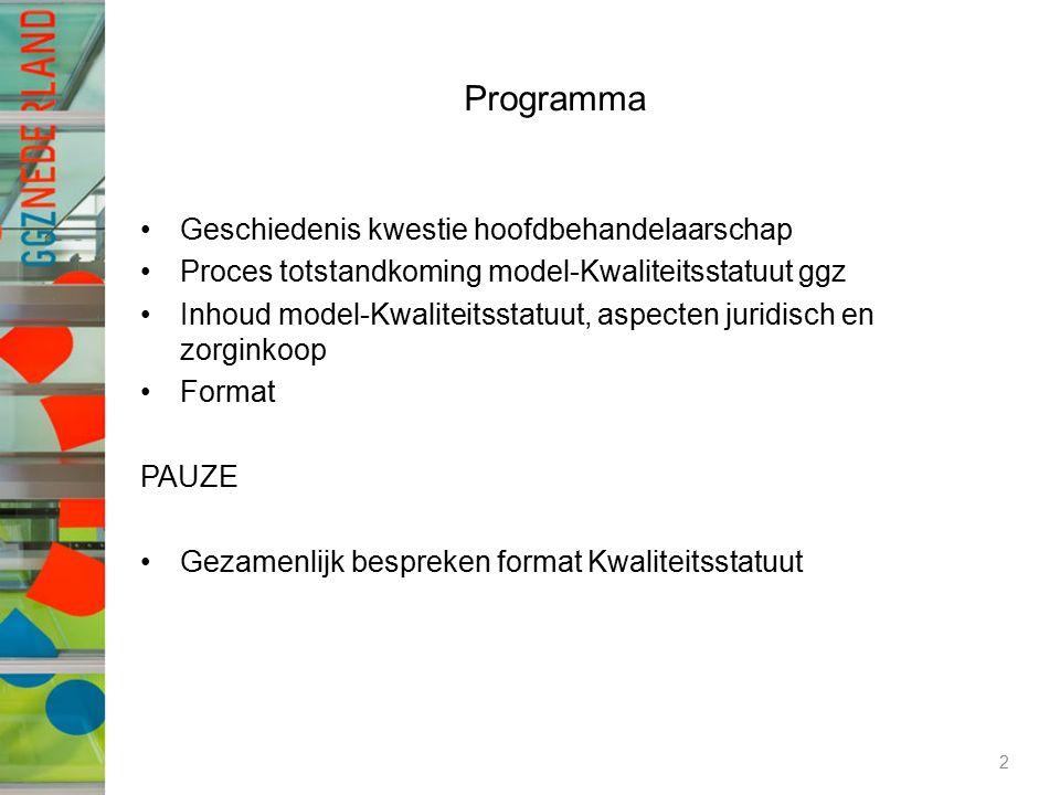 Programma Geschiedenis kwestie hoofdbehandelaarschap Proces totstandkoming model-Kwaliteitsstatuut ggz Inhoud model-Kwaliteitsstatuut, aspecten juridisch en zorginkoop Format PAUZE Gezamenlijk bespreken format Kwaliteitsstatuut 2