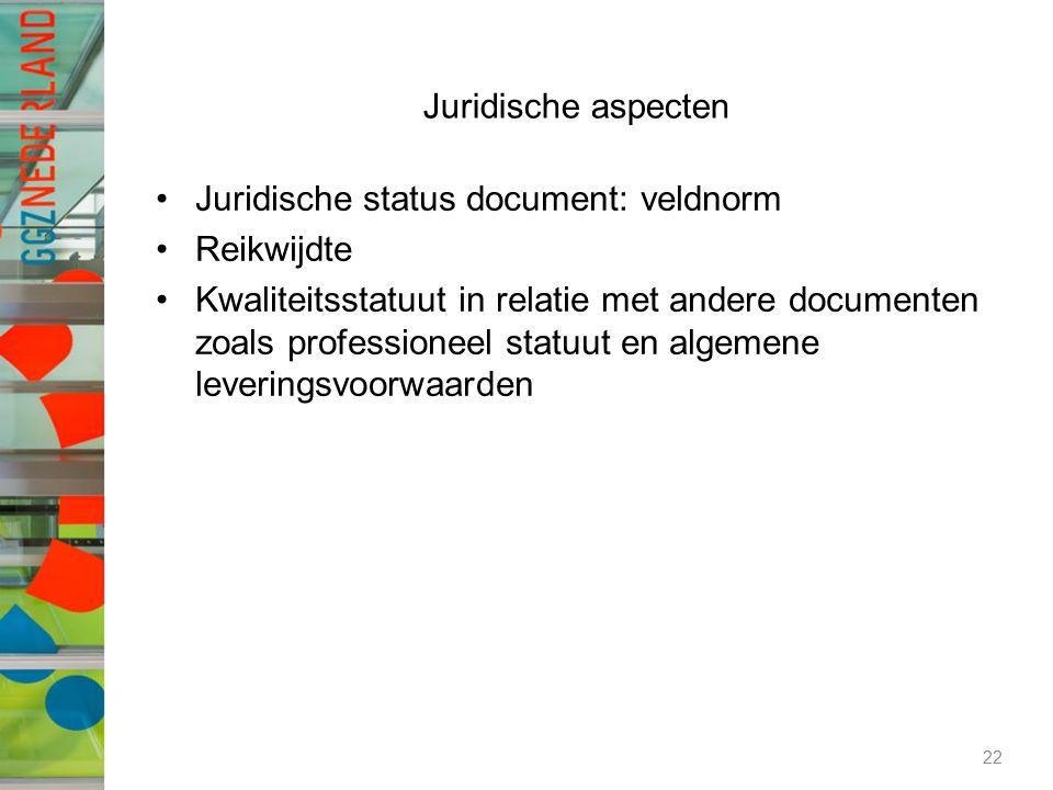 Juridische aspecten Juridische status document: veldnorm Reikwijdte Kwaliteitsstatuut in relatie met andere documenten zoals professioneel statuut en algemene leveringsvoorwaarden 22