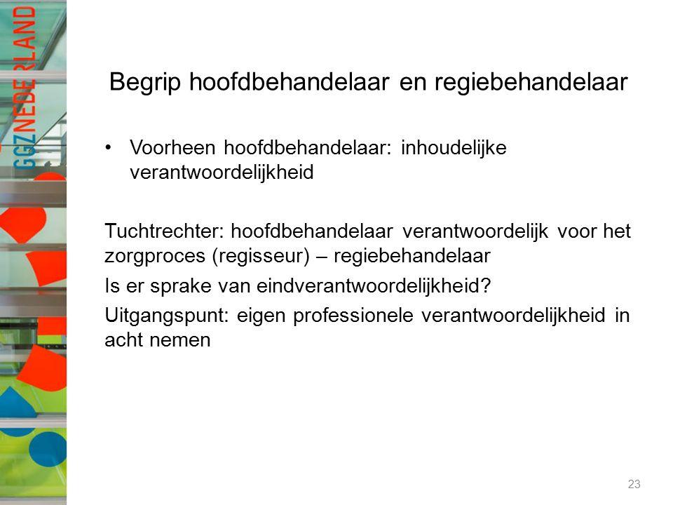 Begrip hoofdbehandelaar en regiebehandelaar Voorheen hoofdbehandelaar: inhoudelijke verantwoordelijkheid Tuchtrechter: hoofdbehandelaar verantwoordeli