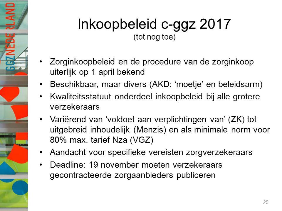 Inkoopbeleid c-ggz 2017 (tot nog toe) Zorginkoopbeleid en de procedure van de zorginkoop uiterlijk op 1 april bekend Beschikbaar, maar divers (AKD: 'm