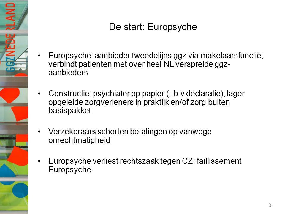 De start: Europsyche Europsyche: aanbieder tweedelijns ggz via makelaarsfunctie; verbindt patienten met over heel NL verspreide ggz- aanbieders Constructie: psychiater op papier (t.b.v.declaratie); lager opgeleide zorgverleners in praktijk en/of zorg buiten basispakket Verzekeraars schorten betalingen op vanwege onrechtmatigheid Europsyche verliest rechtszaak tegen CZ; faillissement Europsyche 3