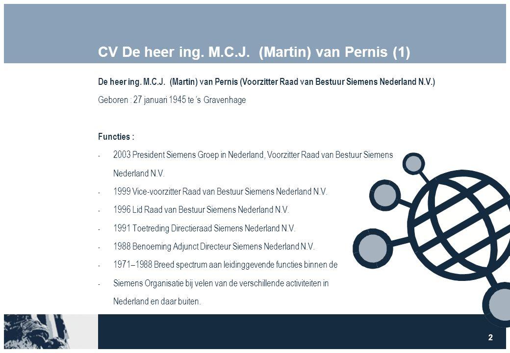 2 CV De heer ing. M.C.J. (Martin) van Pernis (1) De heer ing.