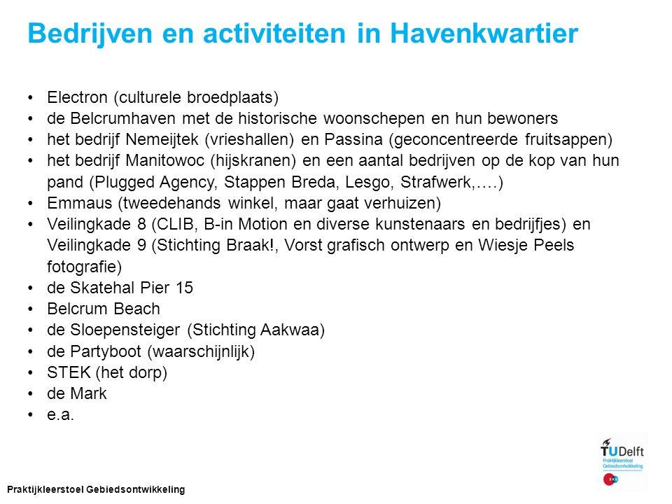 Bedrijven en activiteiten in Havenkwartier Electron (culturele broedplaats) de Belcrumhaven met de historische woonschepen en hun bewoners het bedrijf Nemeijtek (vrieshallen) en Passina (geconcentreerde fruitsappen) het bedrijf Manitowoc (hijskranen) en een aantal bedrijven op de kop van hun pand (Plugged Agency, Stappen Breda, Lesgo, Strafwerk,….) Emmaus (tweedehands winkel, maar gaat verhuizen) Veilingkade 8 (CLIB, B-in Motion en diverse kunstenaars en bedrijfjes) en Veilingkade 9 (Stichting Braak!, Vorst grafisch ontwerp en Wiesje Peels fotografie) de Skatehal Pier 15 Belcrum Beach de Sloepensteiger (Stichting Aakwaa) de Partyboot (waarschijnlijk) STEK (het dorp) de Mark e.a.