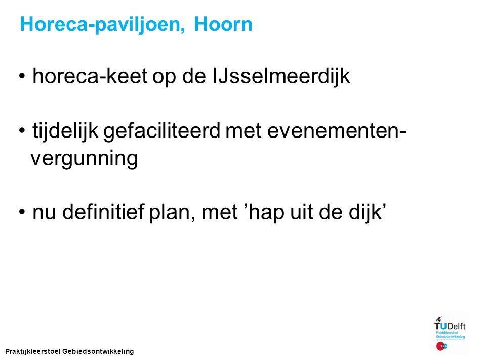 Horeca-paviljoen, Hoorn horeca-keet op de IJsselmeerdijk tijdelijk gefaciliteerd met evenementen- vergunning nu definitief plan, met 'hap uit de dijk' 17 Praktijkleerstoel Gebiedsontwikkeling