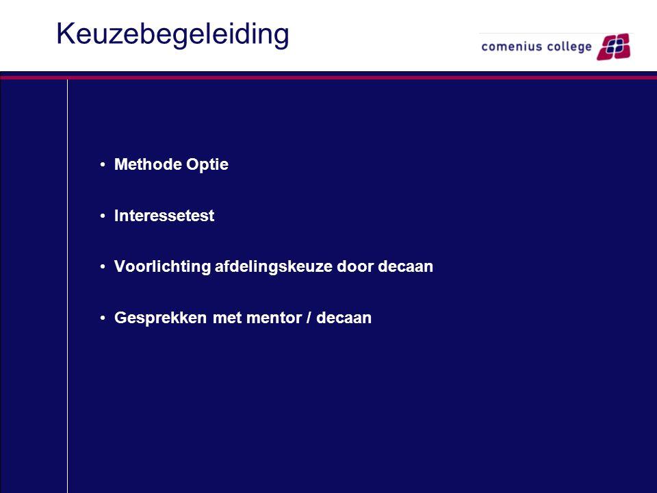 Keuzebegeleiding Methode Optie Interessetest Voorlichting afdelingskeuze door decaan Gesprekken met mentor / decaan