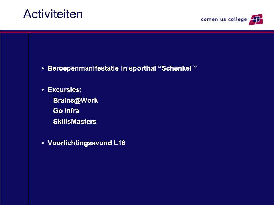 """Activiteiten Beroepenmanifestatie in sporthal """"Schenkel """" Excursies: Brains@Work Go Infra SkillsMasters Voorlichtingsavond L18"""
