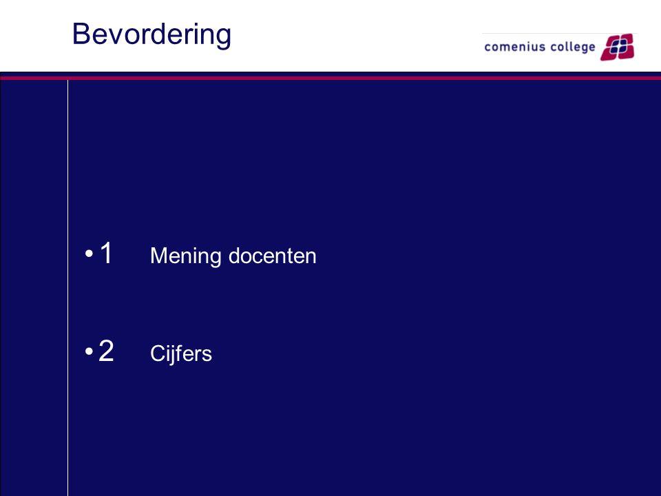 Bevordering 1 Mening docenten 2 Cijfers