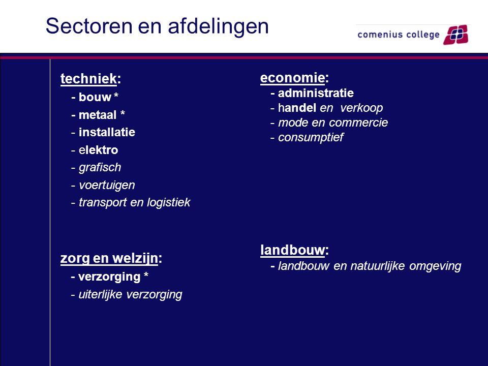 Sectoren en afdelingen techniek: - bouw * - metaal * - installatie - elektro - grafisch - voertuigen - transport en logistiek zorg en welzijn: - verzo