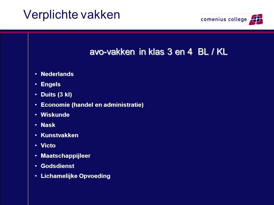 Verplichte vakken avo-vakken in klas 3 en 4 BL / KL Nederlands Engels Duits (3 kl) Economie (handel en administratie) Wiskunde Nask Kunstvakken Victo Maatschappijleer Godsdienst Lichamelijke Opvoeding