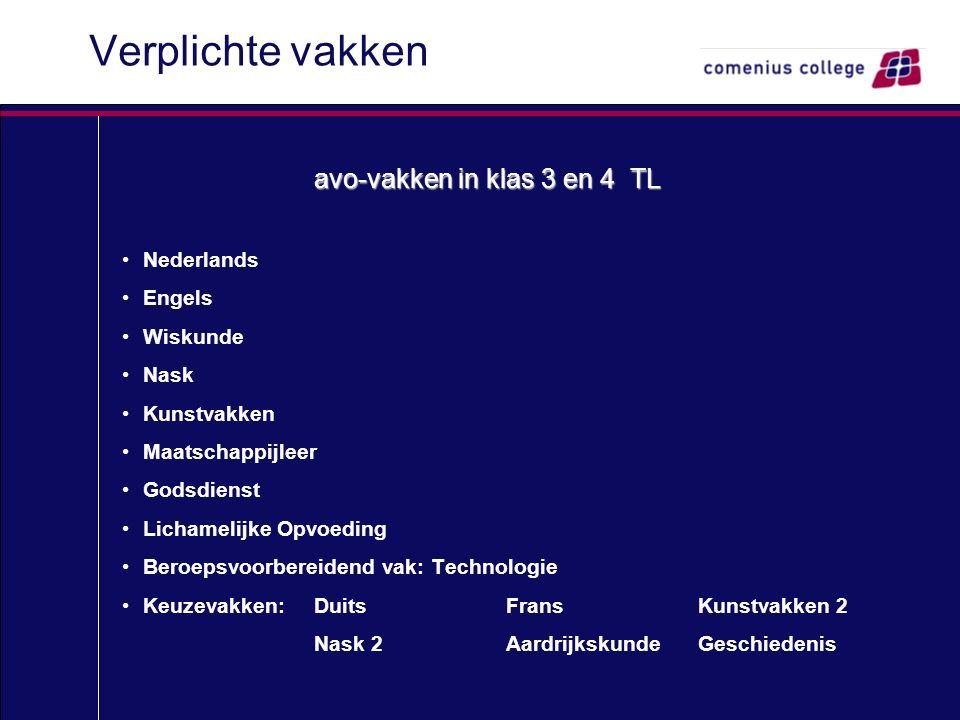 Verplichte vakken avo-vakken in klas 3 en 4 TL Nederlands Engels Wiskunde Nask Kunstvakken Maatschappijleer Godsdienst Lichamelijke Opvoeding Beroepsv