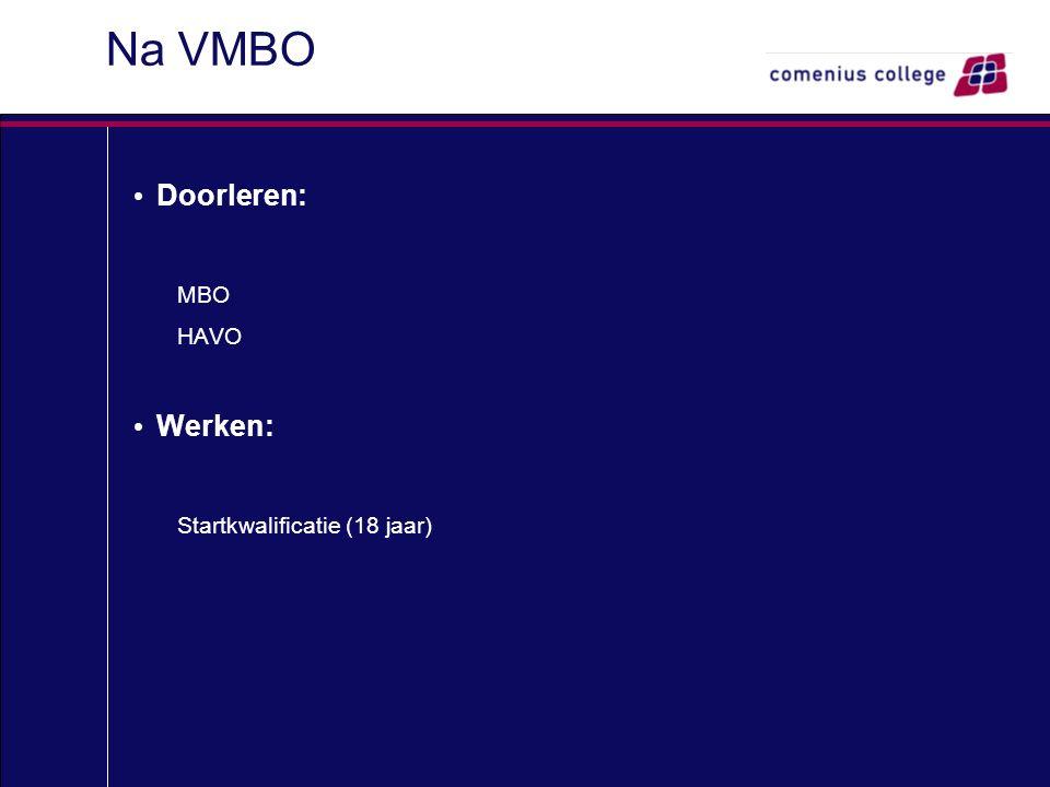 Na VMBO Doorleren: MBO HAVO Werken: Startkwalificatie (18 jaar)