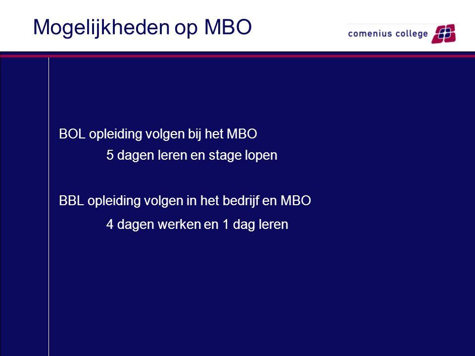 Mogelijkheden op MBO BOL opleiding volgen bij het MBO 5 dagen leren en stage lopen BBL opleiding volgen in het bedrijf en MBO 4 dagen werken en 1 dag leren