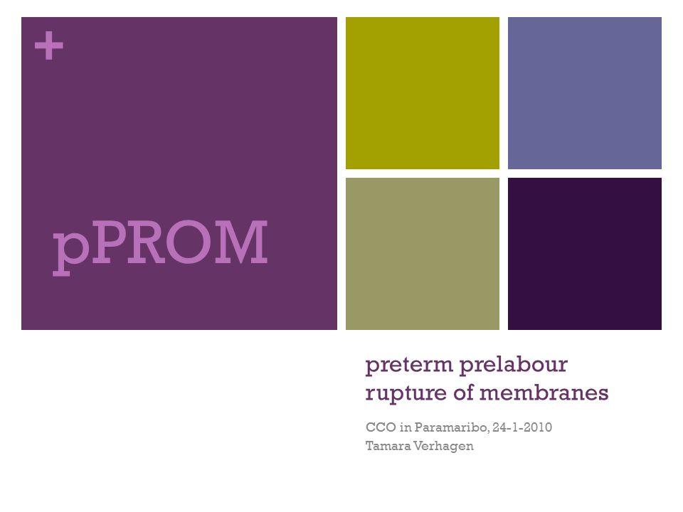 + Definitie pPROM Breken van de vliezen voor 37 weken amenorroe zonder optreden van weeënactiviteit