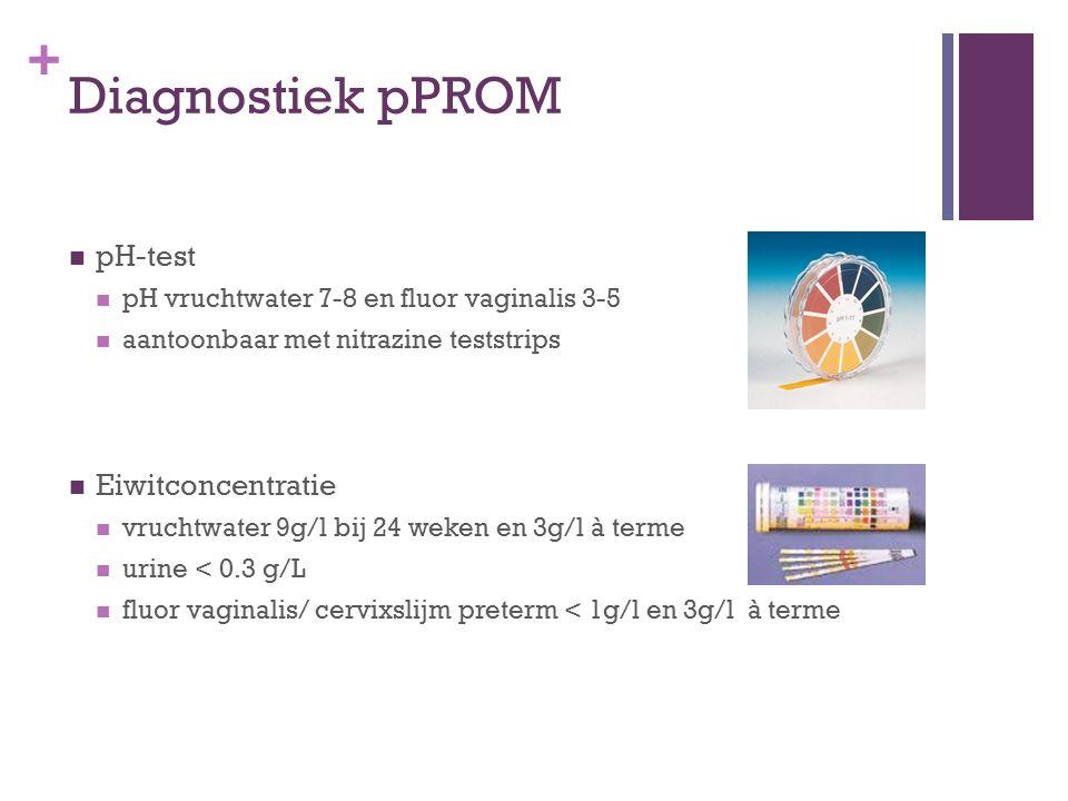 + Diagnostiek pPROM pH-test pH vruchtwater 7-8 en fluor vaginalis 3-5 aantoonbaar met nitrazine teststrips Eiwitconcentratie vruchtwater 9g/l bij 24 w