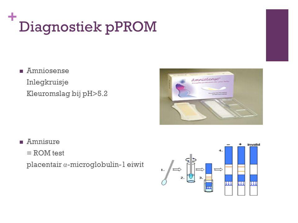 + Diagnostiek pPROM Amniosense Inlegkruisje Kleuromslag bij pH>5.2 Amnisure = ROM test placentair α -microglobulin-1 eiwit