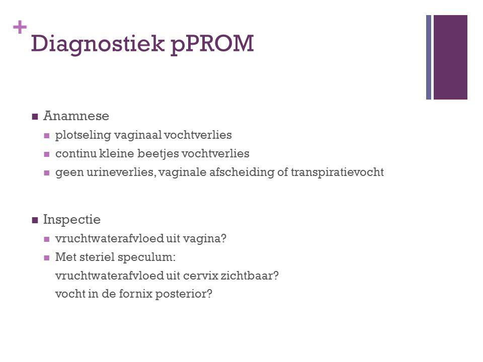 + Diagnostiek pPROM Anamnese plotseling vaginaal vochtverlies continu kleine beetjes vochtverlies geen urineverlies, vaginale afscheiding of transpira