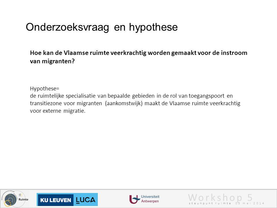 Workshop 5 steunpunt ruimte 05 mei 2014 Onderzoeksvraag en hypothese Hoe kan de Vlaamse ruimte veerkrachtig worden gemaakt voor de instroom van migranten.