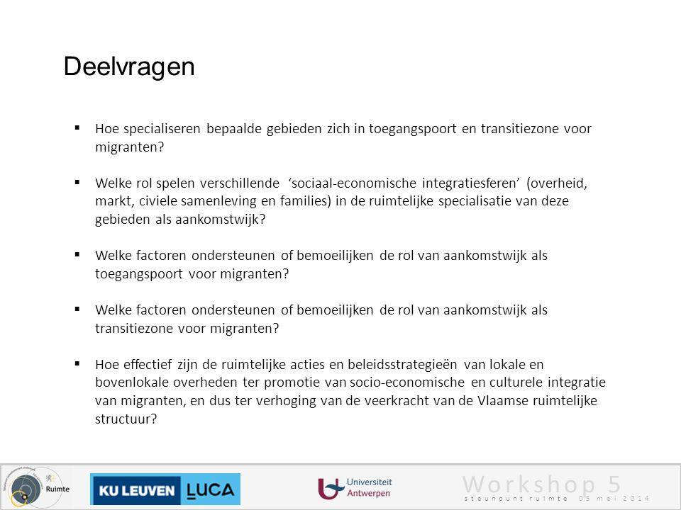 Workshop 5 steunpunt ruimte 05 mei 2014 Deelvragen  Hoe specialiseren bepaalde gebieden zich in toegangspoort en transitiezone voor migranten.