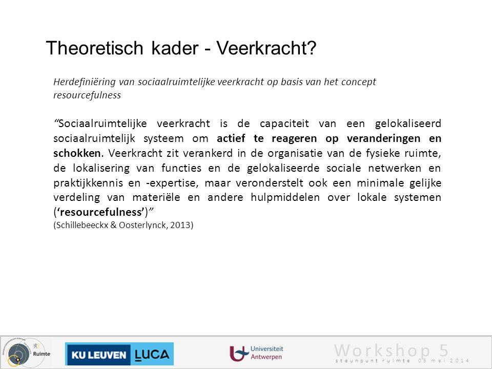 Workshop 5 steunpunt ruimte 05 mei 2014 Theoretisch kader - Veerkracht.