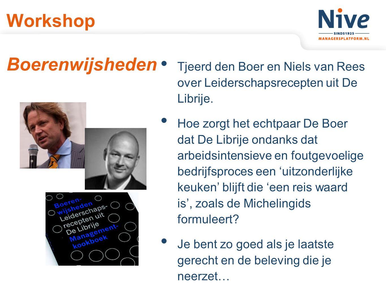 Workshop Boerenwijsheden Tjeerd den Boer en Niels van Rees over Leiderschapsrecepten uit De Librije.