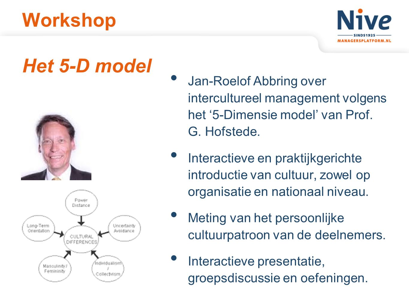 Workshop Het 5-D model Jan-Roelof Abbring over intercultureel management volgens het '5-Dimensie model' van Prof. G. Hofstede. Interactieve en praktij