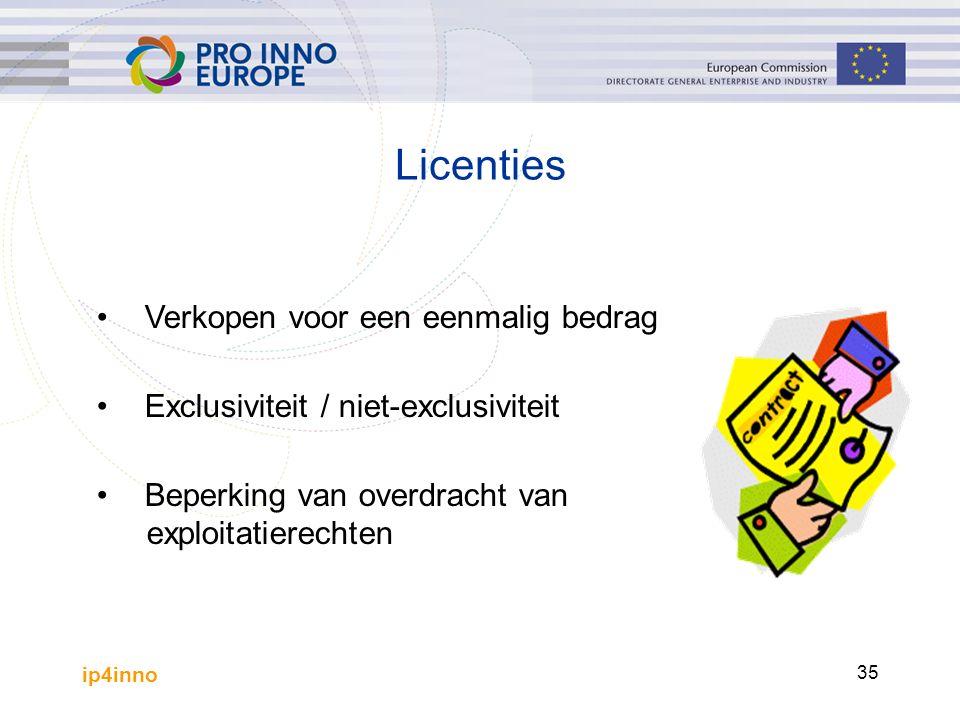 ip4inno 35 Licenties Verkopen voor een eenmalig bedrag Exclusiviteit / niet-exclusiviteit Beperking van overdracht van exploitatierechten