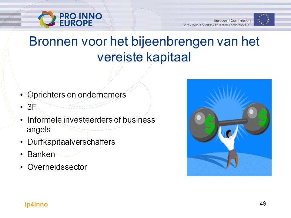ip4inno 49 Bronnen voor het bijeenbrengen van het vereiste kapitaal Oprichters en ondernemers 3F Informele investeerders of business angels Durfkapitaalverschaffers Banken Overheidssector