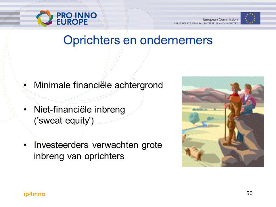 ip4inno 50 Oprichters en ondernemers Minimale financiële achtergrond Niet-financiële inbreng ( sweat equity ) Investeerders verwachten grote inbreng van oprichters