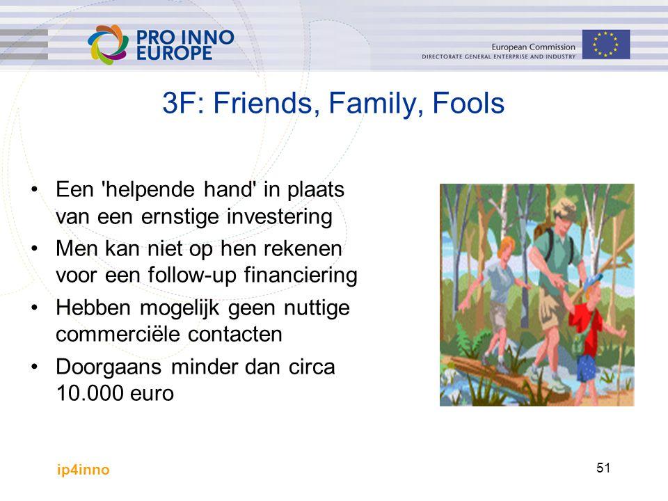 ip4inno 51 3F: Friends, Family, Fools Een helpende hand in plaats van een ernstige investering Men kan niet op hen rekenen voor een follow-up financiering Hebben mogelijk geen nuttige commerciële contacten Doorgaans minder dan circa 10.000 euro