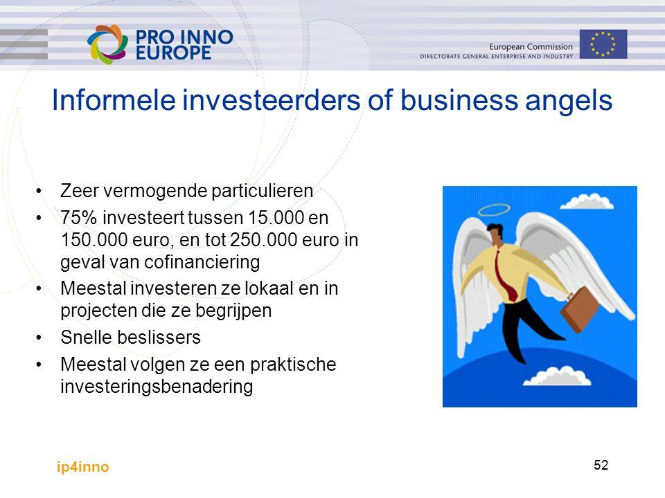 ip4inno 52 Informele investeerders of business angels Zeer vermogende particulieren 75% investeert tussen 15.000 en 150.000 euro, en tot 250.000 euro in geval van cofinanciering Meestal investeren ze lokaal en in projecten die ze begrijpen Snelle beslissers Meestal volgen ze een praktische investeringsbenadering