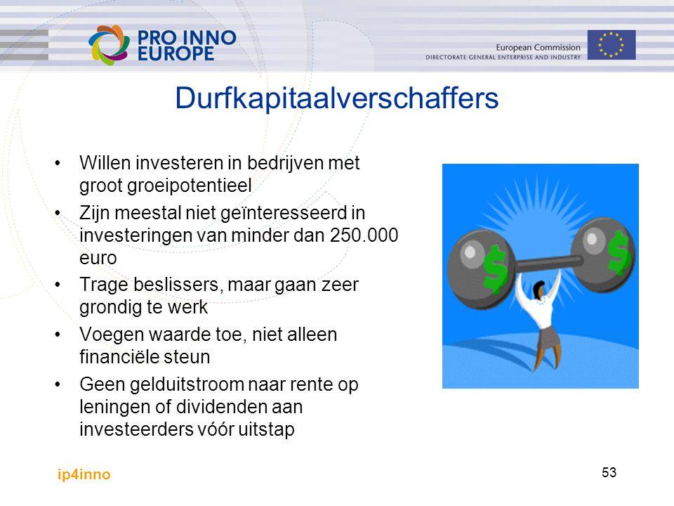 ip4inno 53 Durfkapitaalverschaffers Willen investeren in bedrijven met groot groeipotentieel Zijn meestal niet geïnteresseerd in investeringen van min