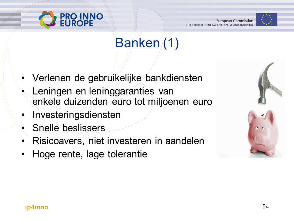 ip4inno 54 Banken (1) Verlenen de gebruikelijke bankdiensten Leningen en leninggaranties van enkele duizenden euro tot miljoenen euro Investeringsdiensten Snelle beslissers Risicoavers, niet investeren in aandelen Hoge rente, lage tolerantie