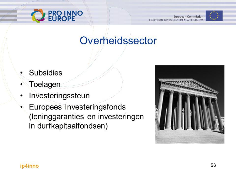 ip4inno 56 Overheidssector Subsidies Toelagen Investeringssteun Europees Investeringsfonds (leninggaranties en investeringen in durfkapitaalfondsen)