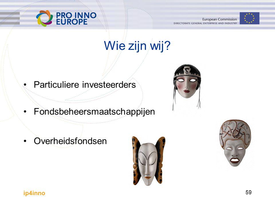 ip4inno 59 Wie zijn wij? Particuliere investeerders Fondsbeheersmaatschappijen Overheidsfondsen