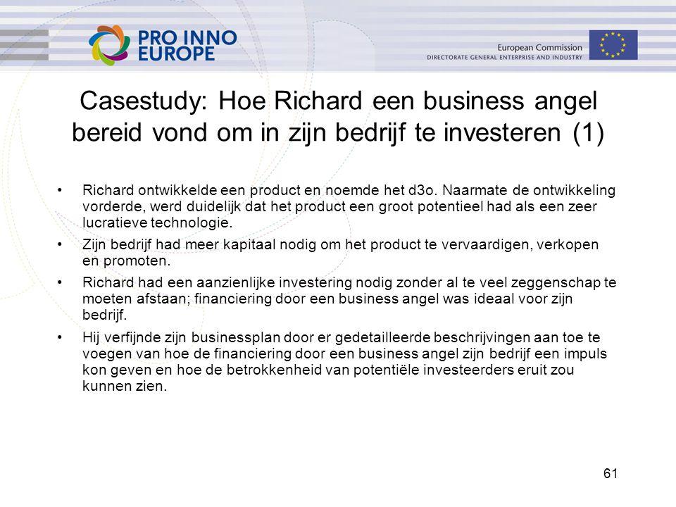 61 Casestudy: Hoe Richard een business angel bereid vond om in zijn bedrijf te investeren (1) Richard ontwikkelde een product en noemde het d3o. Naarm