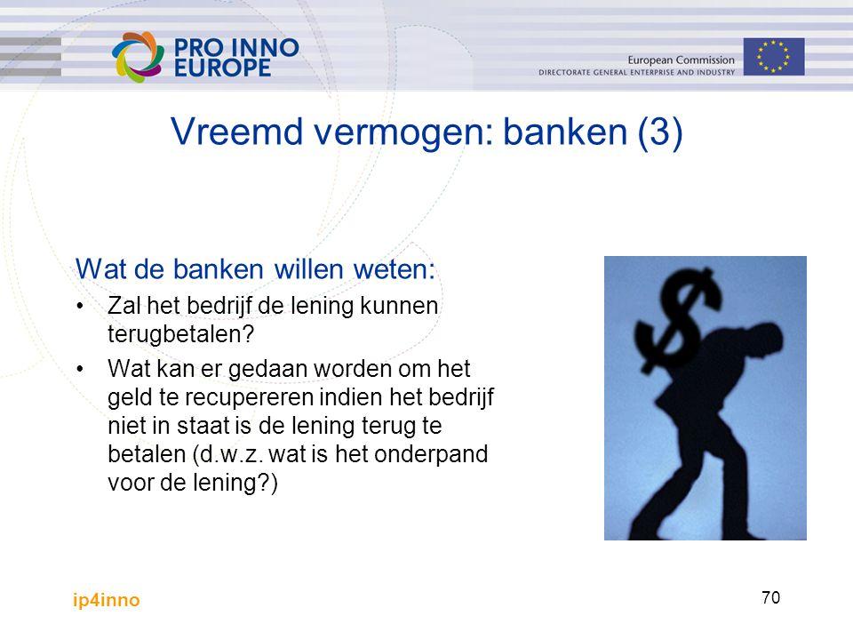 ip4inno 70 Wat de banken willen weten: Zal het bedrijf de lening kunnen terugbetalen? Wat kan er gedaan worden om het geld te recupereren indien het b