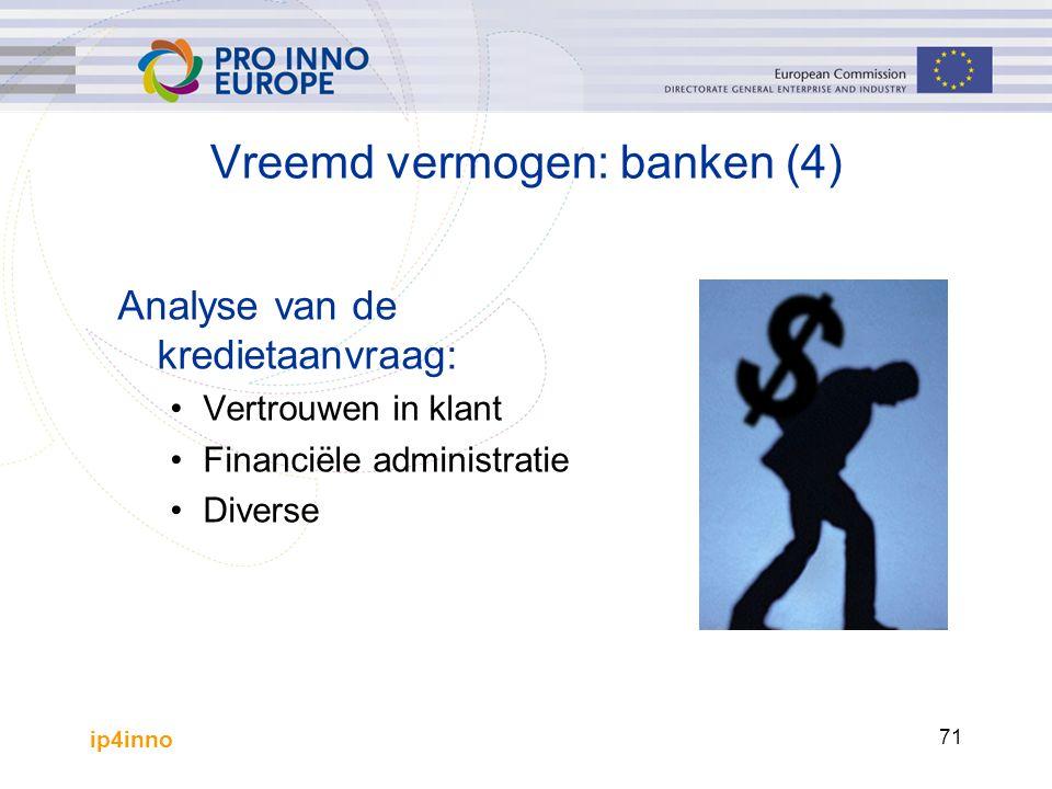 ip4inno 71 Analyse van de kredietaanvraag: Vertrouwen in klant Financiële administratie Diverse Vreemd vermogen: banken (4)