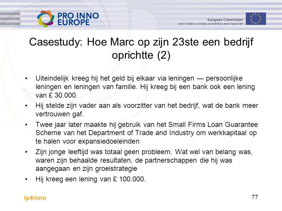 ip4inno 77 Casestudy: Hoe Marc op zijn 23ste een bedrijf oprichtte (2) Uiteindelijk kreeg hij het geld bij elkaar via leningen — persoonlijke leningen en leningen van familie.