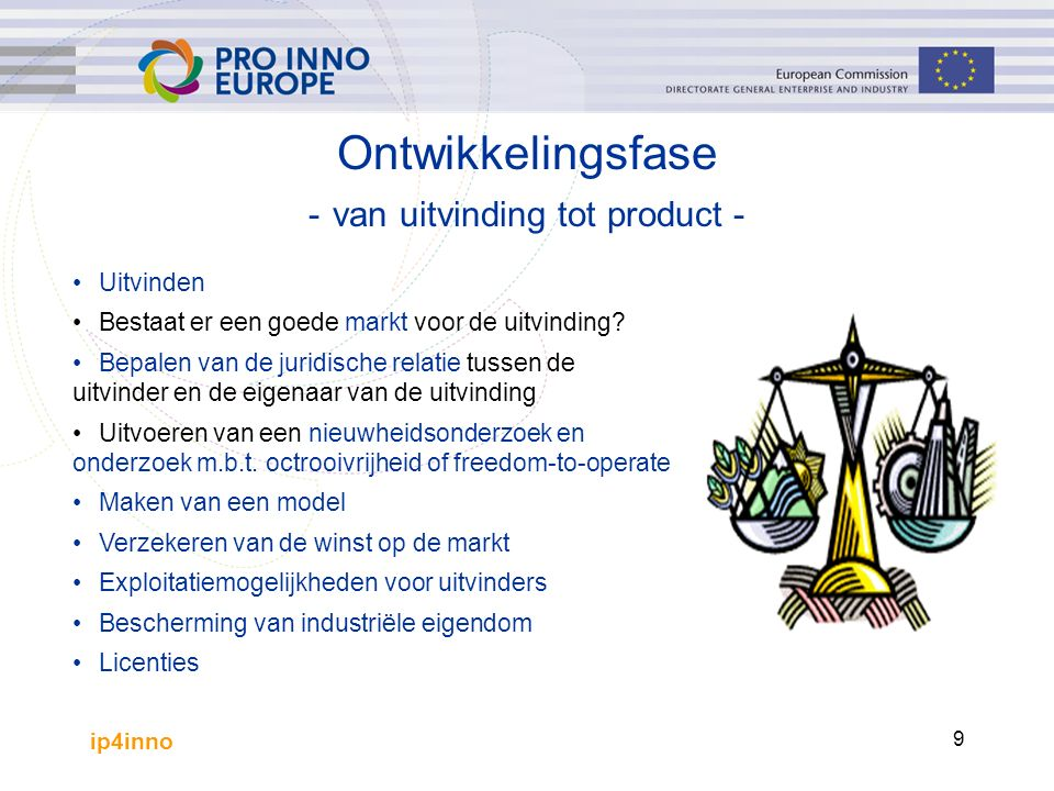 ip4inno 10 Uitvinden Twee innovatiemodellen: Vraaggeïnduceerde innovatie –innovatie met het oog op het vervullen van een specifieke marktbehoefte –minder riskant Aanbodgeïnduceerde innovatie –innovatie met het oog op het zoeken van oplossing voor een technisch probleem –veel nadelen –riskanter: mogelijk vervult de innovatie geen marktbehoefte