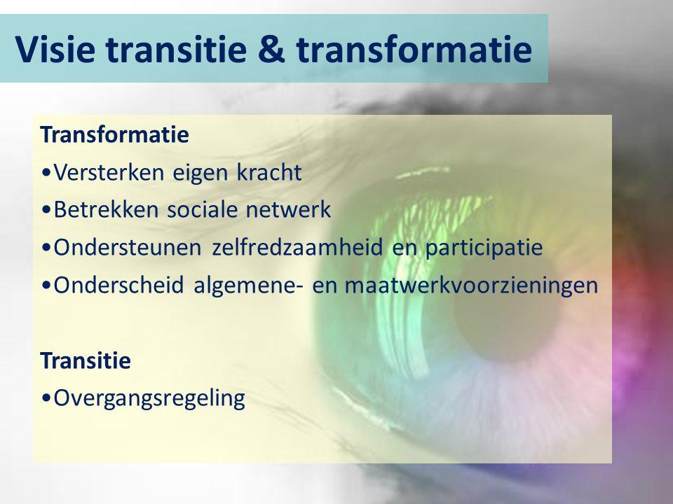 Visie transitie & transformatie Transformatie Versterken eigen kracht Betrekken sociale netwerk Ondersteunen zelfredzaamheid en participatie Onderscheid algemene- en maatwerkvoorzieningen Transitie Overgangsregeling