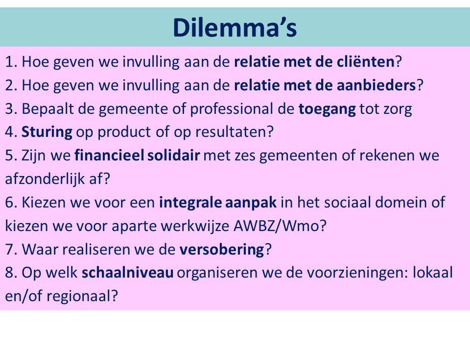 Dilemma's 1. Hoe geven we invulling aan de relatie met de cliënten.
