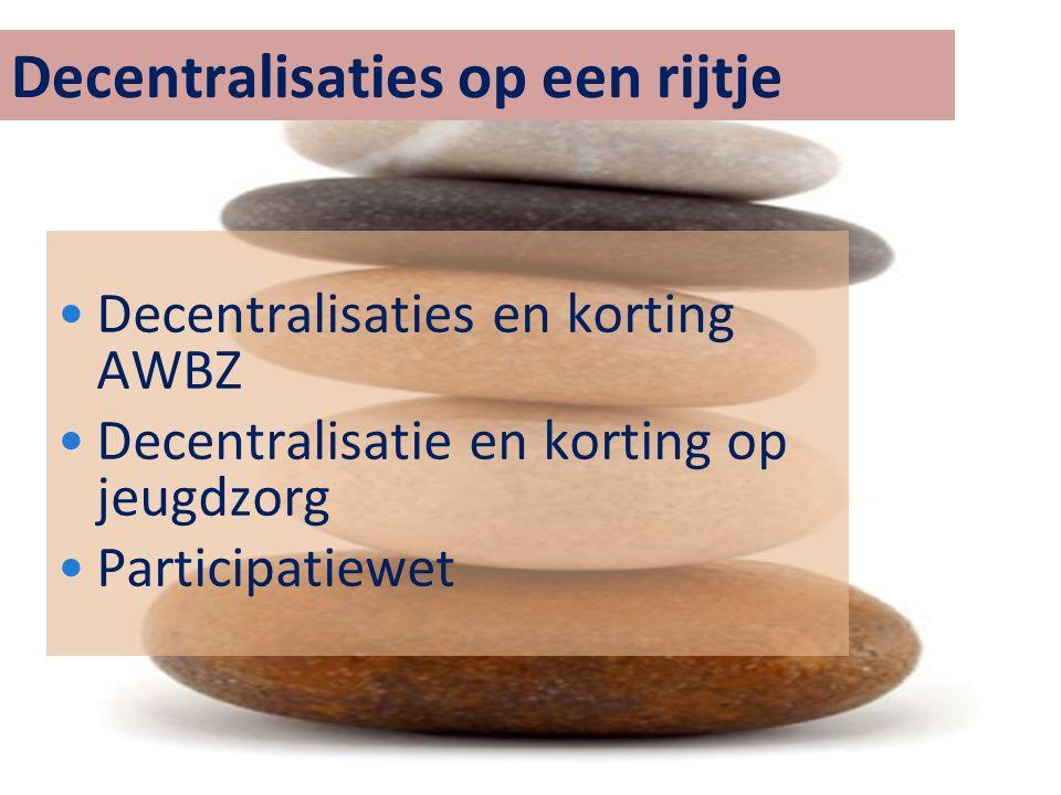 Decentralisaties op een rijtje Decentralisaties en korting AWBZ Decentralisatie en korting op jeugdzorg Participatiewet