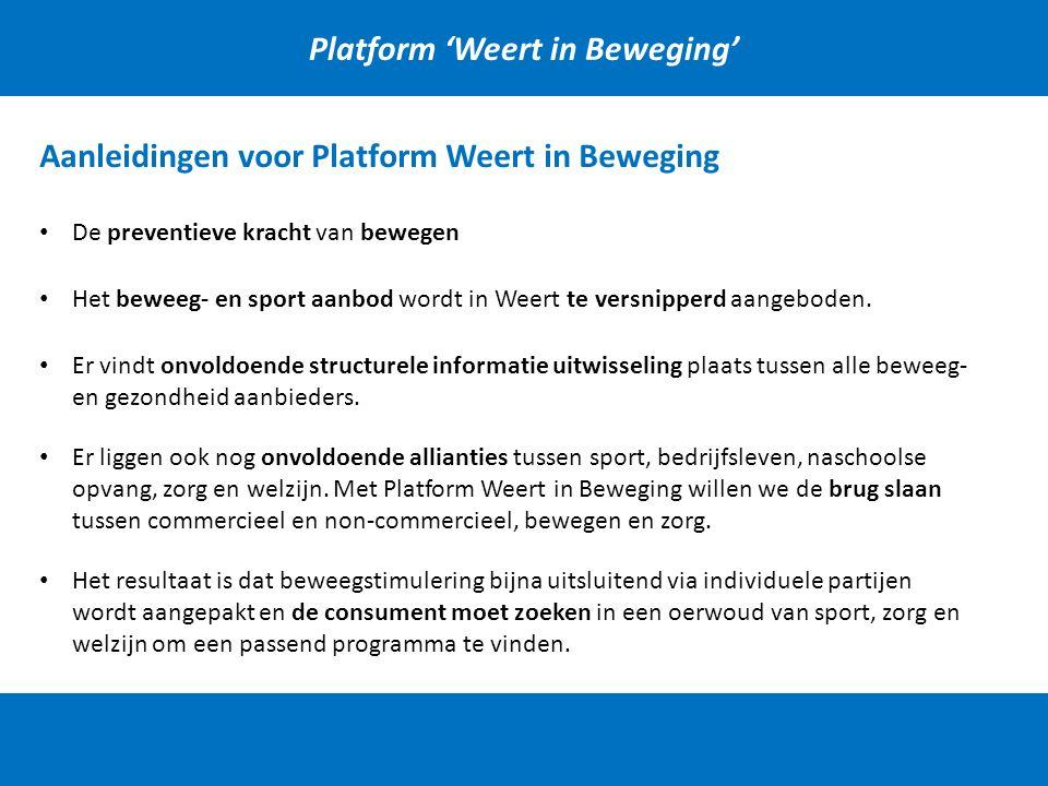 Platform 'Weert in Beweging' Aanleidingen voor Platform Weert in Beweging Het beweeg- en sport aanbod wordt in Weert te versnipperd aangeboden. Er vin