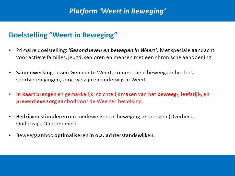 Platform 'Weert in Beweging' Doelstelling Weert in Beweging Primaire doelstelling: 'Gezond leven en bewegen in Weert'.