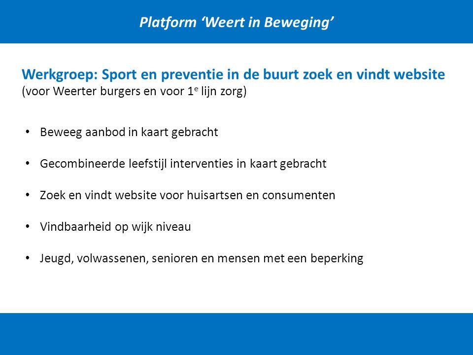 Platform 'Weert in Beweging' Werkgroep: Sport en preventie in de buurt zoek en vindt website (voor Weerter burgers en voor 1 e lijn zorg) Beweeg aanbo