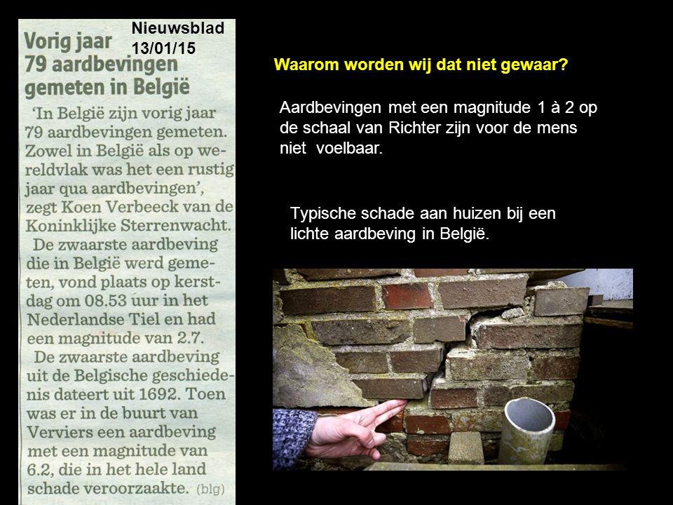 Nieuwsblad 13/01/15 Typische schade aan huizen bij een lichte aardbeving in België. Aardbevingen met een magnitude 1 à 2 op de schaal van Richter zijn