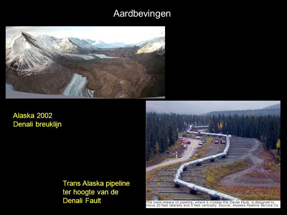 Aardbevingen Alaska 2002 Denali breuklijn Trans Alaska pipeline ter hoogte van de Denali Fault